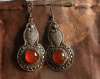 Vintage hand made earrings of Bali silver and carnelian with fine granulated decoration