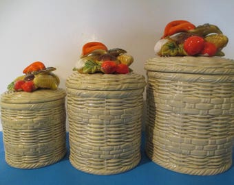LEFTON BASKET WEAVE Canister Set  3 Piece Veggie Theme
