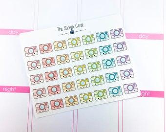HAND DRAWN Kawaii - camera Stickers | Planner Stickers, Kawaii Stickers, photo sticker, social media sticker, photograpghy sticker