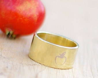 Minimalistic apple band ring (comes with a story) Hand stamped metal jewelry Rustic brass nature ring Fruit tree ring