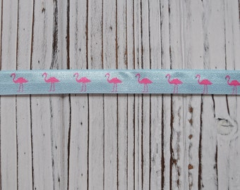 FOE - Pink and Blue Flamingo Foe Stretch Elastic For DIY Hair Bows and Hair Elastics
