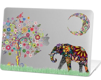 Macbook Pro 13 inch Rubberized Hard Case for model A1706 & A1708 with/without Touch Bar, Moon Elephant Design with Clear Bottom Case