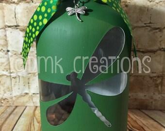 Dragonfly Painted Mason Jar Tea Light Candle Holder, dragonfly, painted mason jar, mason jar, tea light, candle holder, lantern, gift, cute