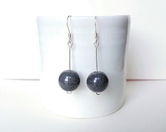 Grey Sterling Silver Earrings, Grey Ball Earrings, Simple Earrings, Grey Dangle Earrings