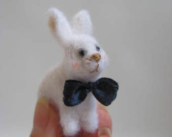 Needle Felted Rabbit With a Bow-Tie. Felted Miniature.
