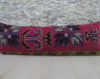12 x 36 Handmade Kilim Lumbar Cushion Couch Pillow Turkish Rug Ethnic Pillow Tribal Pillow Decorative Pillow Sofa Pillow
