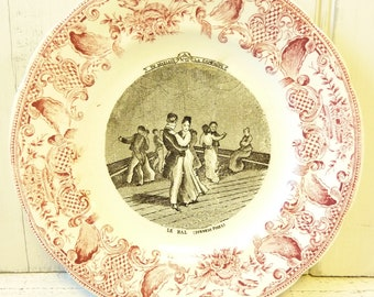 Antique French talking plate 'La Bal' . French humour plate. Wedding gift.