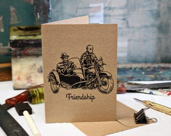 Friendship Greeting Horror Card Screen Printed by Hand.