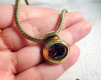 Vintage Gold Tone Amethyst Oval Pendant Necklace 16 Inches