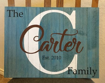 Family Name Custom Wooden Sign