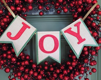 JOY Banner Christmas Decoration - Joy Garland Holiday Decoration - Joy sign