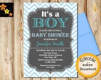 Baby shower Invitation, Boy Baby shower, Chevron, Blue, DIY, Printable Invitation, Editable, Instant Download, Adobe Reader