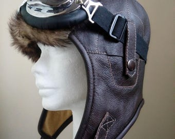 leather aviator hat , bomber hat