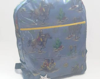 cowboys and Indians boys backpack, Boys oilcloth backpack, childs rucksack, cowboys and Indians, Gifts for boys, childs book bag, backpack