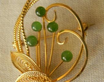 Vintage Faux Jade Gold Tone Filigree Brooch Pin Vintage Brooch