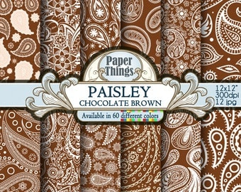 Chocolate Brown Paisley Digital Paper, Brown Indian Paisley - Digital Chocolate Brown Pattern Scrapbook Background Instant Download