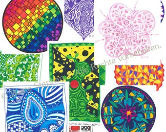 Set of 10 greeting cards with envelopes - motifs: free choice