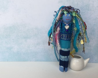 Worry Doll, Wooden Clothespin Art Dolls, Gift for Her, OOAK Folk Art Wooden Ornament, Whimsical Folk Art Doll