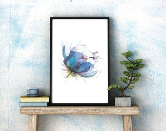 Blue lotus – watercolour A3 art print