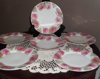 J&C Germany and Jaeger and Co rose plates set of 6 plates