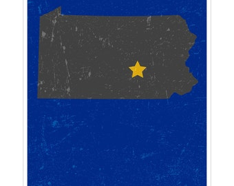 Harrisburg, Pennsylvania - Capital City Map Art Poster