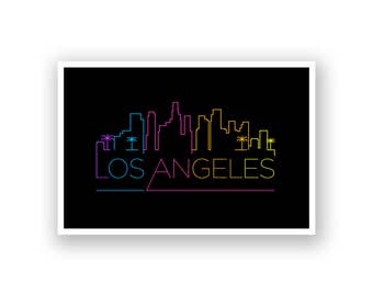 Los Angeles City Skyline Line Art Poster