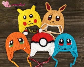 READY to Ship!Pokemon hat, Pikachu hat,Pokeball hat, Squirtle hat, Charmander hat,Eevee hat,children hat,crochet hat, handmade hat,ready to