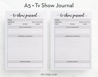 Tv Show, Tv Show Journal, A5 Planner Inserts, TV Show Tracker, Printable Planner, Tv Show Manager, Planner Tracker, Review Planner, A5