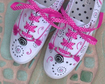 Buttons and Bows/Squiggles and Swirls/Whimsical Hand Painted Sneakers/Unique Gift Ideas for Women/Quirky Squiggle Pattern/Doodle Art
