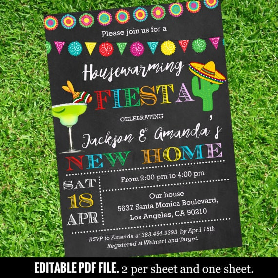 Mexican Fiesta Housewarming Invitation Fiesta Housewarming