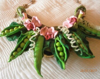 SPRING-polymer clay necklace PEAS, with flowers, leaves and green peas