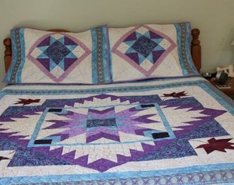 Queen Size Quilt, Handmade Queen Quilt, Unique Quilts,  Purple and light Blue Hand Made Queen Quilt , Home Decor, Bedroom Decor, Quilts
