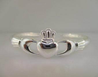 Sterling Silver Irish Claddagh Cuff Bracelet
