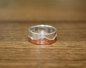 La Plata Mountain Range Ring - Silver and Copper Metalwork - SW Colorado
