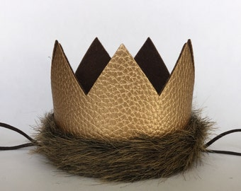 Limited Edition Wild Things Gold Brown Fur Crown, Wild One 1st Birthday Faux Leather Wild One Crown,