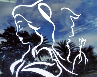 Disneys Beauty and the Beast Princess Belle and Prince Adam inspired Decals for Car/Tablet/Laptop/Wall ~ Multiple colors/Sizes :)