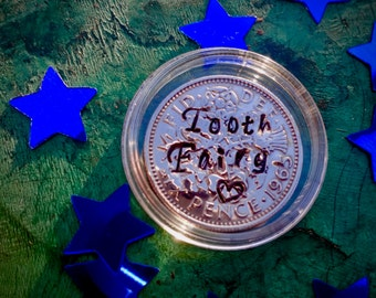 The original Magical tooth fairy coin lucky sixpencepersonalised unique keepsake Tooth fairy first tooth silver colour coin