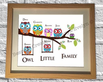 Owl Little Family bespoke wall art A4 PRINT ONLY ideal gift