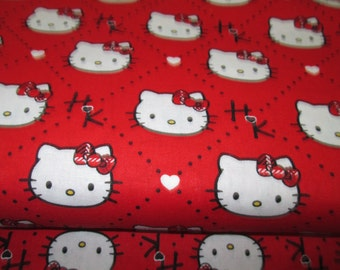 Cotton fabric 100% on ground with red background, cotton fabric Hello Kitty kitty hello sold in half yard