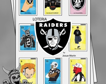Raiders Inspired Loteria Folk Art Bingo