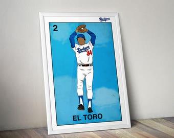 Dodgers Loteria Poster  El Toro