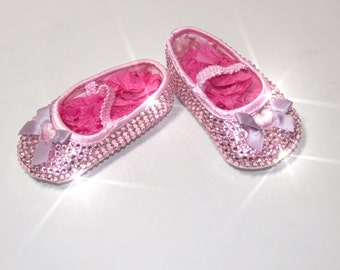 Beautiful Baby Pink Swarvoski Crystal Shoes, Bling gifts, Baby Bling shoes/baby Sparkle shoes