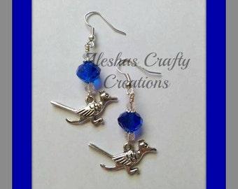 Road Runner Earrings, Bird Earrings, Earrings, Drop Earrings, Dangle Earrings, Jewelry, Bird Jewelry, Gifts For Her, Roadrunner Charm