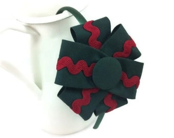 Headband flower, headband petals, green headband, headband Garnet, headband College, uniform, Adorno hair, headband girl, headband female