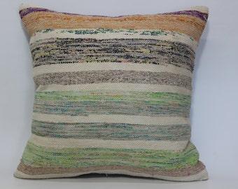 Turkish Kilim Pillow Throw Pillow Fllor Pillow Cushion Cover 24x24 Washable Cotton Kilim Pillow Sofa Pillow Ethnic Pillow SP6060-932