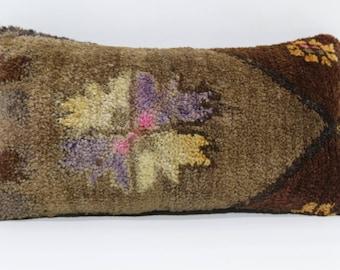 Turkish Carpet Pillow Handmade Rug Pillow 10x20 Turkish Kilim Pillow Floor Pillow Bohemian Carpet Pillow Cushion Cover  SP3050-909