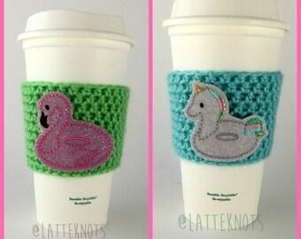 Unicorn Floatie Coffee Cup Cozy / Flamingo Floatie Crochet Coffee Sleeve / Reusable Cozie / Customizable