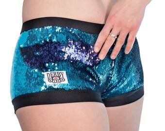 SALE Derby Kiss Color changing sequin mermaid blue/ purple roller derby rave festival shorts