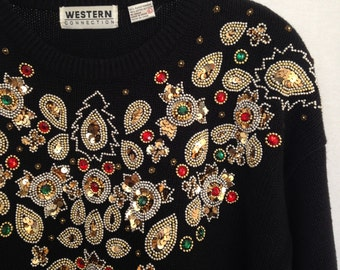 1990s black bejeweled holiday sweater by WESTERN CONNECTION size L
