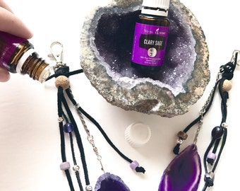 Diffuser accessory - Agate Keychain - Keychain diffuser - Diffuse Essential Oils - Sun Catcher